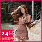 梨卡★現貨 - 韓國優雅氣質綁帶縮腰連身裙連身短裙沙灘裙洋裝C6263