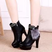 新款女靴子棉鞋加厚加絨短靴圓頭細跟高跟鞋防水臺時尚皮靴冬真皮