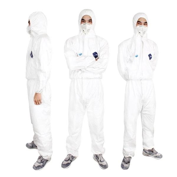防護服1422A防靜電工作服噴漆防化連身帶帽無塵透氣衣服白色 童趣潮品