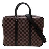 【台中米蘭站】全新品 Louis Vuitton Damier 帆布手提/斜背二用公事包(N41466-咖)