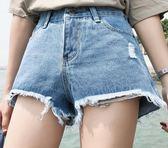 EASON SHOP(GU6227)毛邊抽鬚大撕邊高腰破洞不規則牛仔短褲女熱褲水洗淺藍A字褲韓版春夏裝