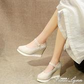 春古風鞋子高跟漢服鞋女內增高坡跟繡花鞋中國民族風古裝布鞋增高 范思蓮恩