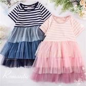 夏日浪漫條紋網紗洋裝-2色(290652)【水娃娃時尚童裝】