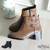 短靴 拼接雙扣飾短靴 MA女鞋 T0588