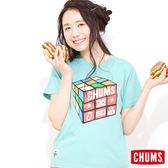 CHUMS 日本 女 Cube 魔術方塊 輕柔綿短袖T恤 水藍 CH111039A011