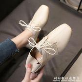 方頭鞋軟妹小皮鞋女英倫百搭兩穿鞋子粗跟中跟復古繫帶單鞋 科炫數位