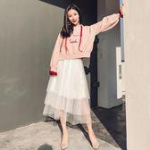 小清新套裝女春裝時尚潮2018新款甜美衛衣套裝裙紗裙子兩件套秋冬  巴黎街頭