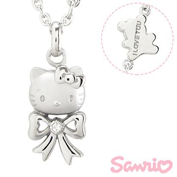 Hello Kitty凱蒂貓-甜心蝴蝶結-刻字銀飾項鍊(兒童/成人)