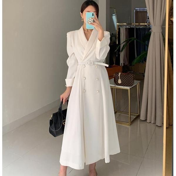 赫本風洋裝三十而已王漫妮同款秋冬法式白色典雅復古西裝裙秋款 【新年狂歡購】