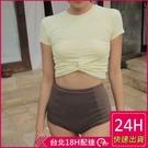 【現貨】梨卡 - 氣質甜美[高腰遮肚+顯瘦]保守款二件式短袖防曬比基尼兩截式泳裝泳衣CR431