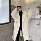 ZSJ服飾 羊羔毛外套男冬季ins韓版潮流寬松蝙蝠袖純色長款過膝羊羔絨大衣 全館免運