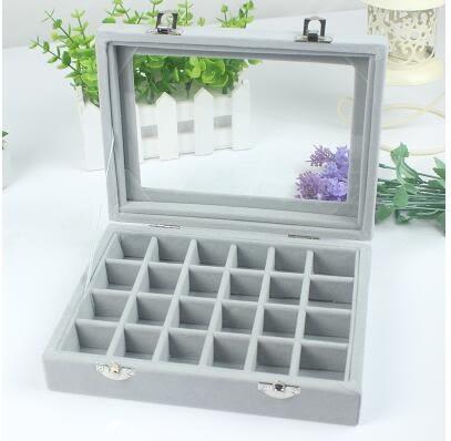 首飾盒木質翻蓋耳釘戒指盒子 首飾耳環收納盒【24格灰色】
