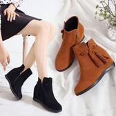 韓版潮磨砂女秋冬加絨短靴平底內增高馬丁靴學生鞋百搭單靴女靴子  居家物語