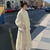 秋冬氣質溫柔風法式初戀森系內搭打底蕾絲加絨白色洋裝仙女長裙 【新年狂歡購】