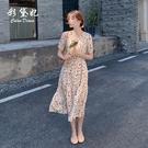 碎花洋裝 溫柔風碎花雪紡連身裙女夏裝裙子仙女超仙森系法式初戀裙-Ballet朵朵