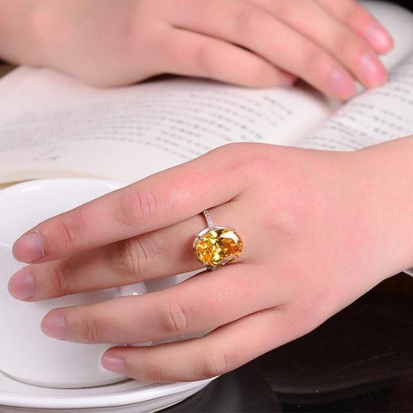 天然紅黃水晶鋯石戒指925純銀度白金夸張女款