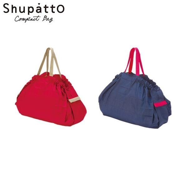 我愛買#日本Shupatto好收納購物袋S-419折疊式側背包秒收購物袋萬用包大容量環保購物袋紅點設計