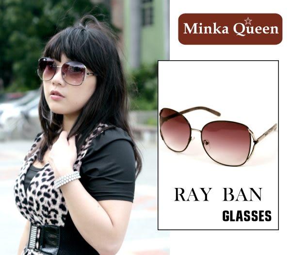Minka Queen 復古風味咖啡色金屬框(抗UV400)時尚個性雷朋太陽眼鏡