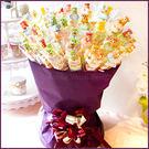 【抽取式花束-QQ小熊軟糖+愛心棉花糖串X100支+花束底籃(紫)X1個(限宅配)】--生日分享/幸福朵朵