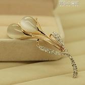 Z3貓眼韓版高檔水晶胸針女優雅領扣飾品衣領夾胸花別針絲巾扣  育心小館