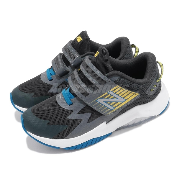 New Balance 童鞋 Rave Run W 寬楦 灰 黑 藍黃 魔鬼氈 運動鞋【ACS】 PTRAVGYW