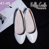 大尺碼女鞋-凱莉密碼-素面簡約清爽風漆皮百搭圓頭平底鞋1cm(41-48)【HO28-5】白色