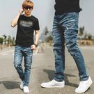 牛仔褲 韓國製立體抓皺中藍刷色小直筒牛仔...