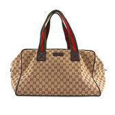 【GUCCI】緹花布logo綠紅提帶中款行李袋(咖啡色) 153240