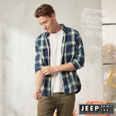 【JEEP】雙色格紋滾邊長袖襯衫(紫藍格紋)
