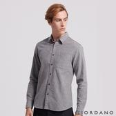 【GIORDANO】男裝純棉磨毛修身單口袋長袖襯衫-27 灰色
