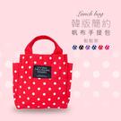 韓版簡約帆布手提便當袋點點款 波卡圓點 大容量 雙側袋 分層收納 磁扣設計 飯盒 午餐袋 野餐袋