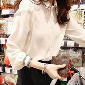 白襯衫女長袖春裝韓版上衣雪紡韓版寬鬆百搭加絨保暖 七色堇