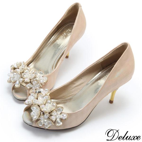 【Deluxe】全真皮浪漫水晶花朵閃耀魚口高跟鞋(金)