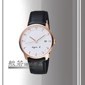 agnes b. 法國時尚藝術腕錶-白X玫瑰金框