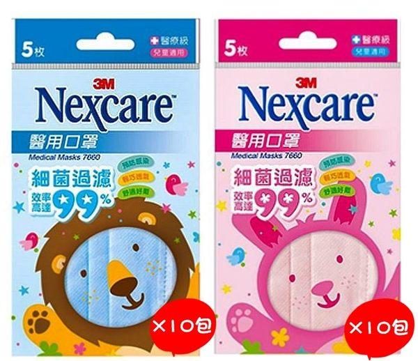 【3M Nexcare 】醫用口罩 兒童適用 5枚/包x10包 盒裝 (藍色.粉色2種可選)