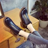 秋冬歐美英倫時尚馬丁靴短靴圓頭中跟粗跟防水台防滑女鞋 概念3C旗艦店