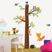 牆貼 兒童房客廳幼兒園布置教室裝飾可移除貼紙 鬆鼠身高貼身高尺  初語生活