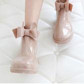 鉅惠兩天-雨鞋防滑雨靴女成人韓國時尚短筒可愛夏季膠鞋蝴蝶結防水學生水鞋【限時八九折】