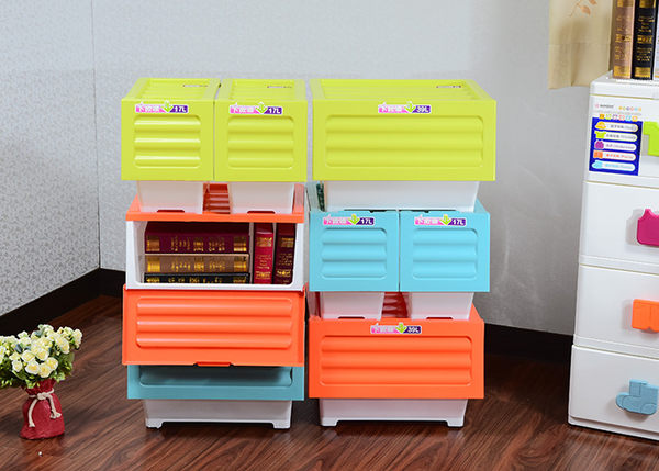 【彩色下掀式整理箱3入組】17L 免運 可堆疊收納箱 直取式玩具箱 置物箱 台灣製造  BX00019 [百貨通]