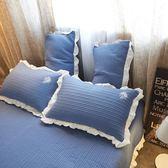 夾棉加厚枕套一對48*74小清新韓版花邊枕頭套縫紉枕皮2只