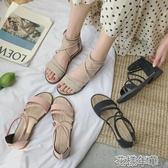 搭配裙子的晚晚涼鞋仙女風平底年新款夏季學生百搭潮 花樣年華