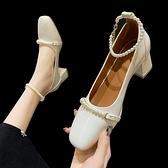 娃娃鞋 單鞋女粗跟2021年春新款法式復古婚鞋方頭瑪麗珍淺口珍珠高跟鞋女