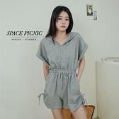 連身褲 Space Picnic|抽繩連帽連身短褲-3色(現貨)【C21073053】