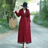 【免運】民族風洋裝 春棉麻雙層風長衣寬松復古盤扣民族風樸實大氣開衫外套 隨想曲