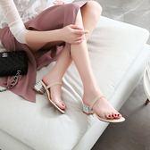 大尺碼女鞋 2019新款歐美時尚透明水鑽一字帶中跟涼鞋~4色