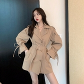 秋款長袖風衣女中長款小個子2019年新款韓版寬鬆百搭工裝外套收腰-完美