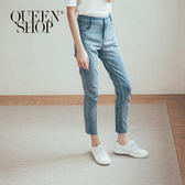 Queen Shop【04011357】刷色下鬚邊造型直筒牛仔褲 S/M/L/XL*現+預*