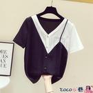 拼接襯衫 撞色拼接V領雪紡襯衫女士法式設計感小眾短袖上衣2021年夏季新款【618 狂歡】