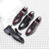 男休閒皮鞋 男皮鞋 韓版時尚尖頭套腳男鞋個新潮流新款皮鞋單鞋保暖男鞋子《印象精品》q781
