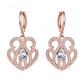 耳環 玫瑰金純銀 鑲鑽-造型獨特絢麗優雅生日情人節禮物女飾品2色73bu76[時尚巴黎]